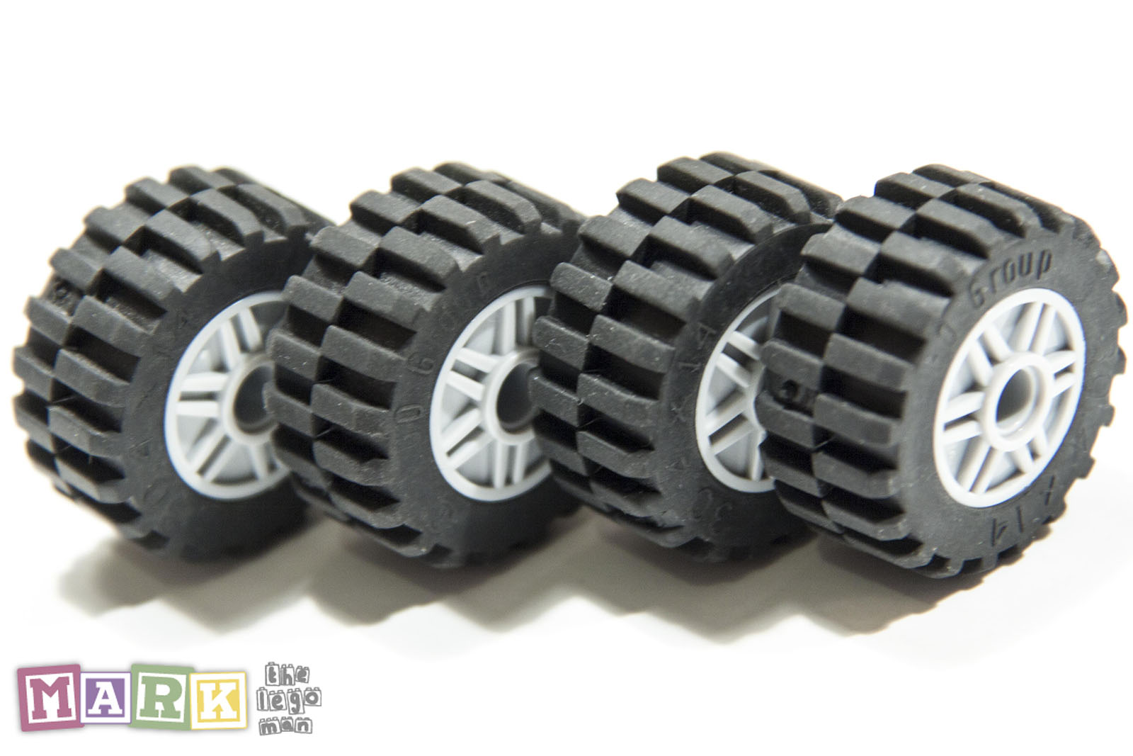 14 Tires For Sale >> Lego Job Lot 4x Light Grey Wheels 55981, 4x Black Tyres 30.4 | Mad About Bricks
